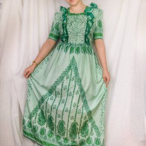 Vintage 70s Green Ruffle Front Floral Maxi Dress